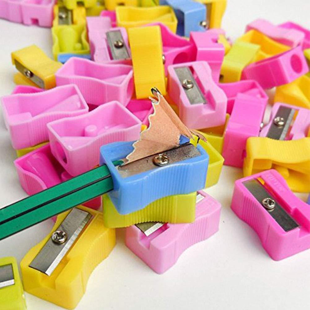 100 PCS Plastic Handheld Pencil Sharpener Single Hole Pencil ...