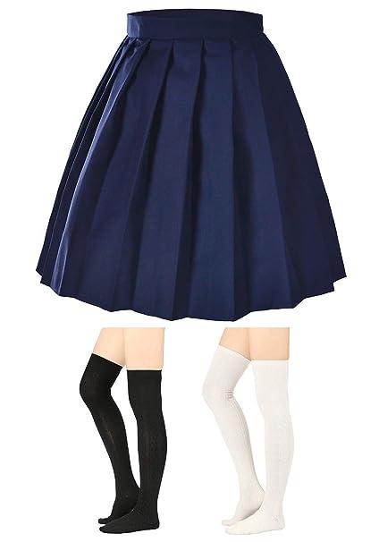 15b7237abe32f8 Elibelle Women's Adjustable Waist Tartan Pleated School Skirt with 2 Pairs  Socks(Asia S)