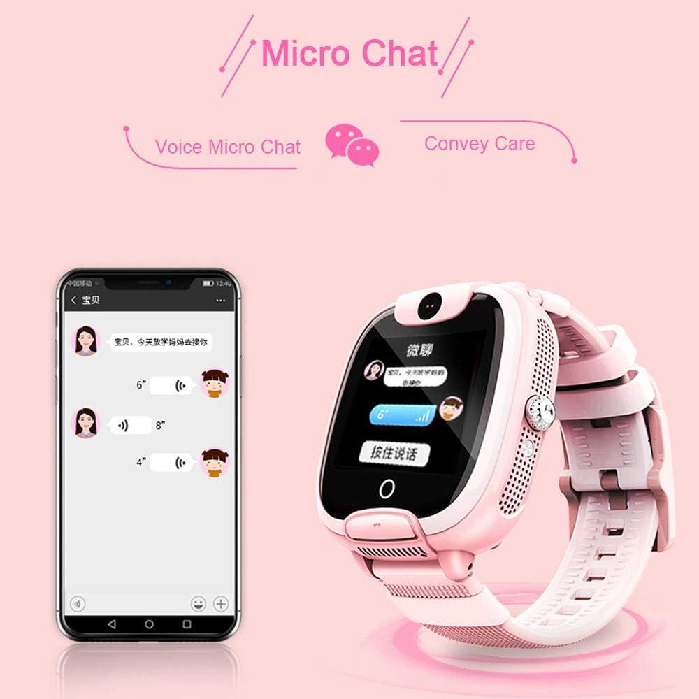 HAJZF Smart Montre pour Les Enfants, SOS en Un Clic L'aide À Deux Voies Clôture Électronique De Jeu De Puzzle De Positionnement GPS Appel Profonde Montre Étanche Anti-Perte Recherche Pink