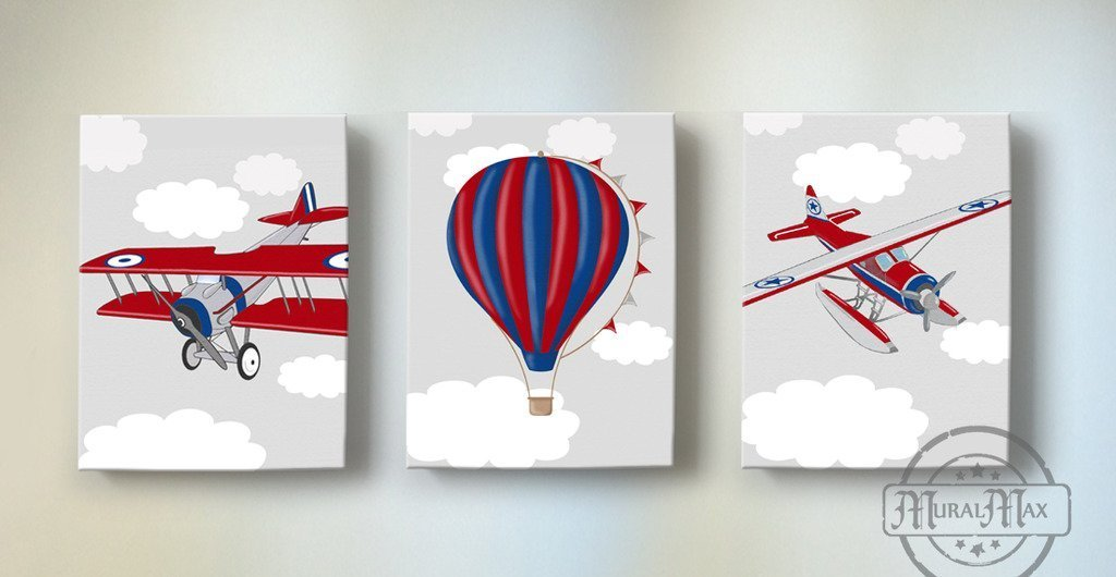 MuralMax - Vintage Seaplanes & Hot Air Balloon Theme - The Canvas Aviation Collection - Set of 3 - Size - 10 x 12