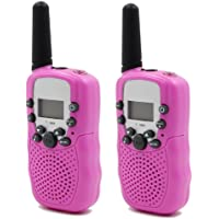 Hyperia Kids Walkie Talkies T-388 8 Channels 2-Way Radio Interphone with Built-in LED Torch VOX LCD Display,1 Pair (Pink…