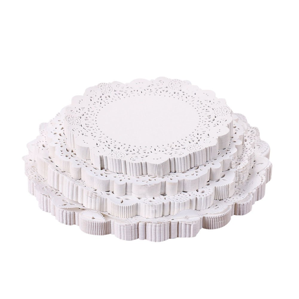 CONIE 4-1/2 Lace Placemats for Coffee Cup, Cake, Dessert, Baked Food, Ideal for Wedding Dinner Party