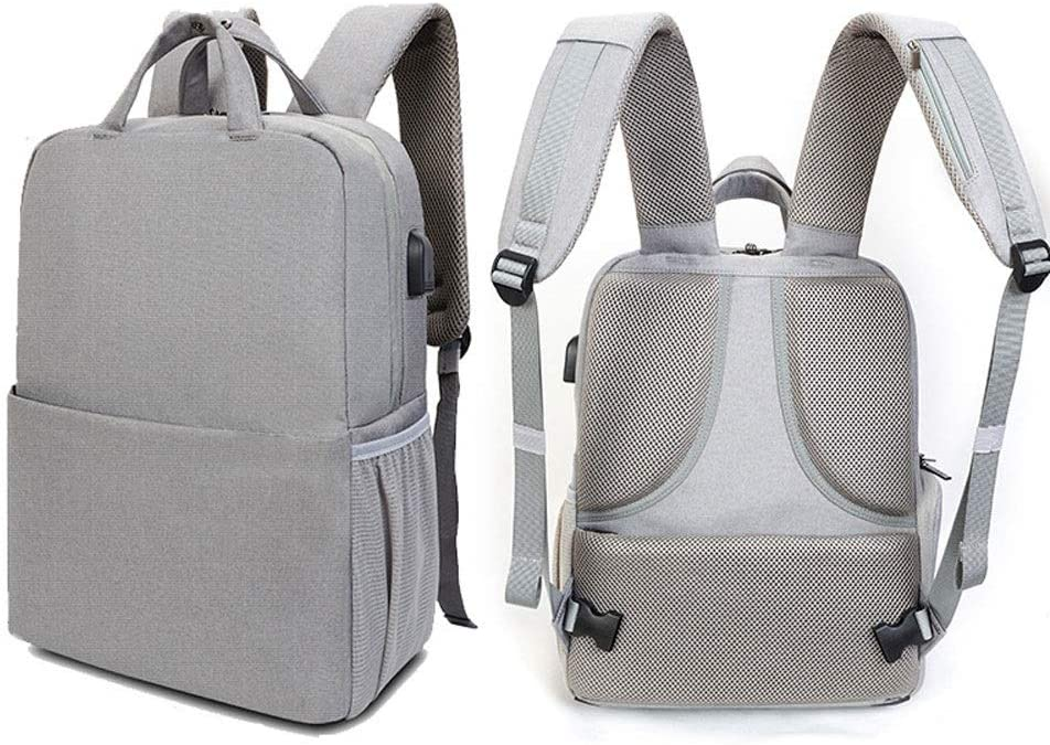 Color : Gray, Size : M Anti-Theft Camera Bag Blue Photography Bag for DSLR Cameras Lens Waterproof Camera Case with Rain Cover Large-Capacity Backpack Flash