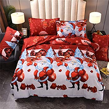 Argstar 3 Pcs Queen Santa Claus Duvet Covers Set, Merry Christmas Pattern Bedding Set, Red and Cream Comforter Cover with Zipper Ties, Soft Microfiber, 1 Duvet Cover and 2 Pillow Shams