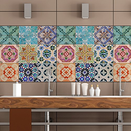 Portuguese Tiles Stickers Maceira - Pack of 16 tiles - Tile Decals Art for Walls Kitchen backsplash Bathroom (9 x 9 inches (Set of 16)) (9 Inch Backsplash)