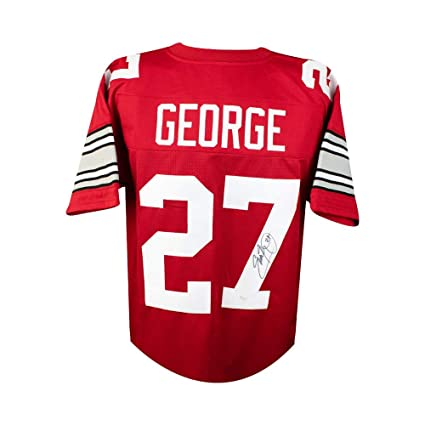 6a4f5aa586d Image Unavailable. Image not available for. Color  Eddie George Autographed Ohio  State Buckeyes Custom Red Football Jersey ...