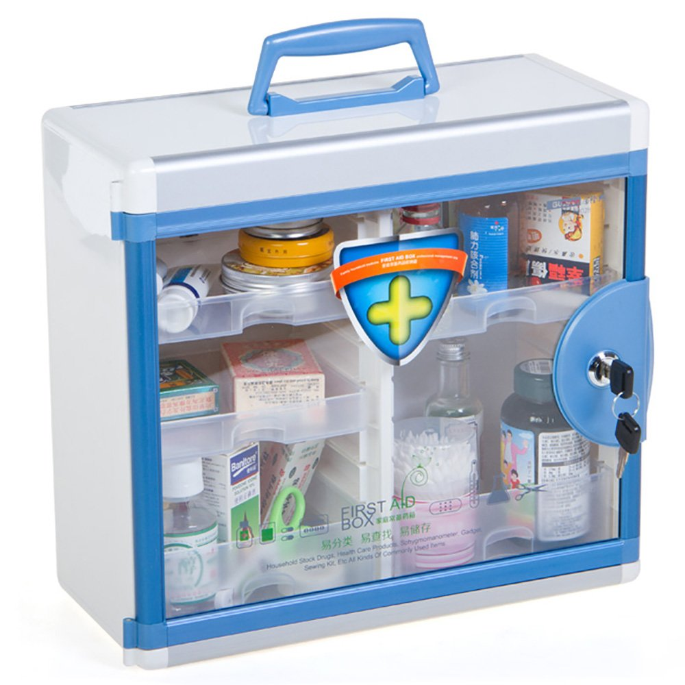 Glosen First Aid Box Lockable Medicine Box with Wall Mounted Function 13.6x6.5x12.4 Inch Blue by Glosen (Image #1)