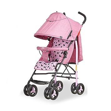 Cochecitos de bebé plegable plegable muy fácil paraguas de bebé plegable portátil coche redondo cuatro, para 0-36 meses (Color : Pink): Amazon.es: Hogar