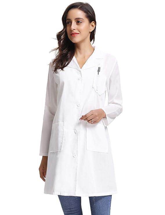 Abollria Batas de Laboratorio Manca Larga Unisex Largo Abrigo Blanco para Doctor, Escuela, Hospital, Ropa de Cosplay: Amazon.es: Ropa y accesorios