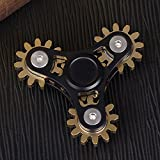FREELOVE 9 Series Gear Design Pure Copper Brass Fidget Spinner Toy Stress Reducer Premium EDC Industrial Mechinery Disassemble R188 Silent Stainless Steel Bearing Helps Focus (Black, 4 Series Gear)