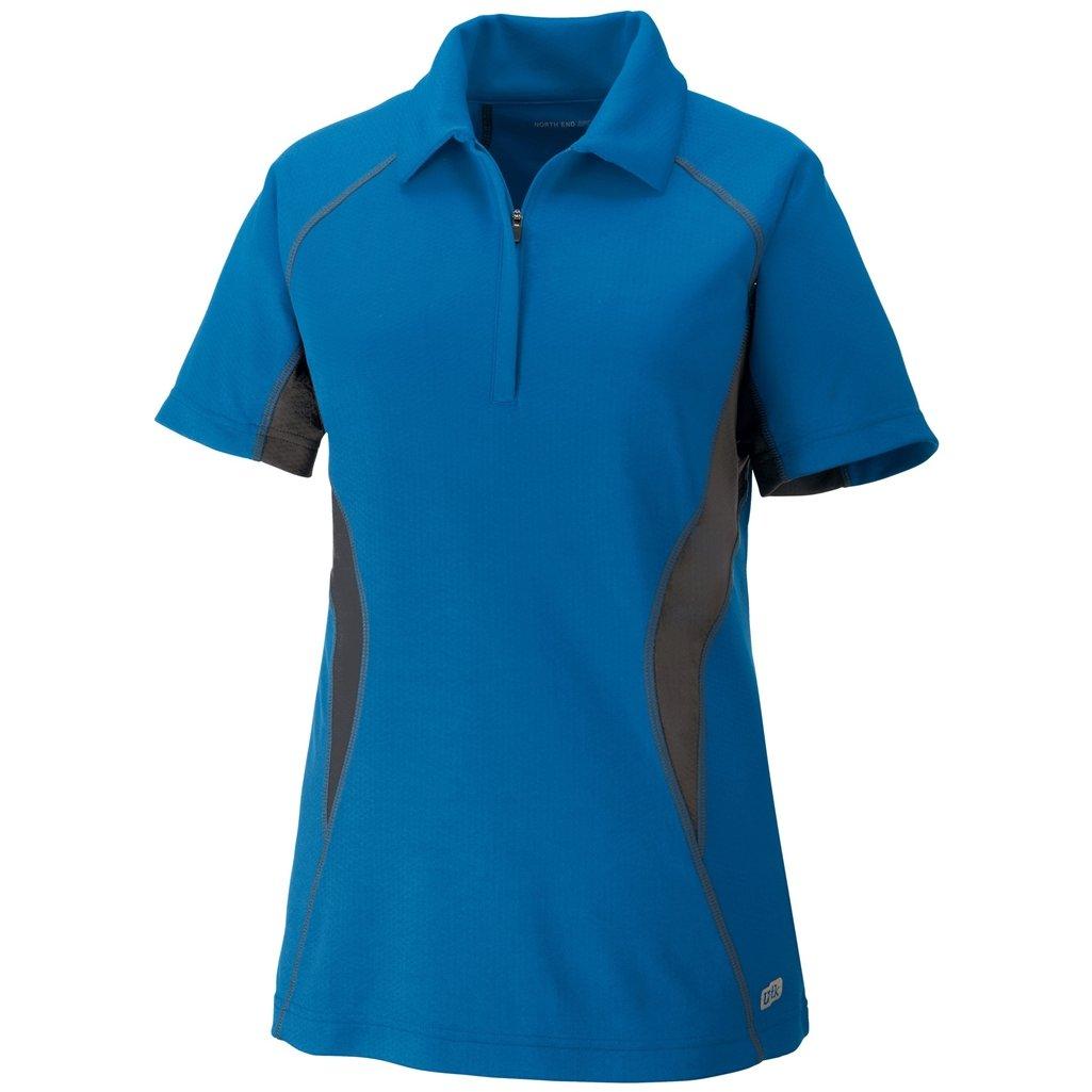 Ash City Womens Serac Performance Zipped Polo (Small, Olympic Blue/Black Silk) by Ash City Apparel
