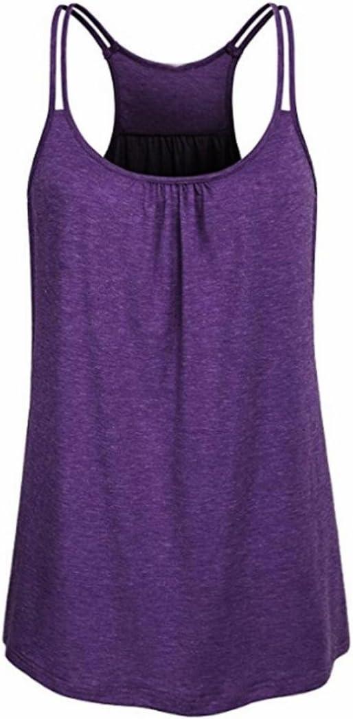 Camiseta de Tirantes para Mujer,Camiseta sin Mangas con Cuello en V sin Mangas de algodón Fluido Deportivo sin Mangas para Mujer Blusa Tops Chaleco Mujer LMMVP (XXL, C): Amazon.es: Hogar