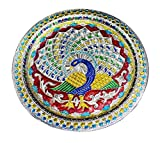 Karwa Chauth Special Decorative Puja/Pooja Thali/Platter with Beautiful Peacock Design for Hindu Temple Rituals, Mandir Temple Accessory - Spiritual Gifts. Diwali Gift,Pujan, Deepawali Decoration