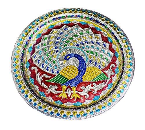 Craftsman Traditional Table - Karwa Chauth/Karva Chauth Decorative Puja Thali Platter with Beautiful Peacock Design for Hindu Temple Rituals, Mandir Accessory - Diwali Gift,Pujan, Deepawali Decoration Karwachauth/Karvachauth