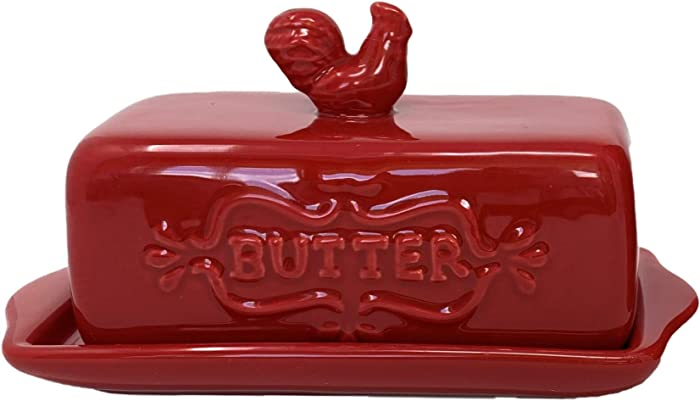 """Home Essentials Home Essentials 7""""l Red Butter Dish W/finial, Red"""