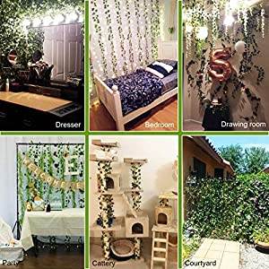 HAODOU 84 Feet 12 Strands Artificial Ivy Leaf Plants Vine Hanging Garland Fake Foliage Flowers for Wedding Party Garden Outdoor Office Wall Decoration 5