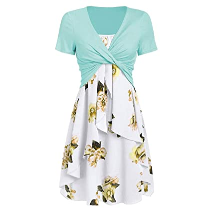 bf9338a9829c Image Unavailable. Image not available for. Color: Dresses for Women Casual  Summer Short Sleeve Bow Knot Cover Up Tops Sunflower Print Strap Midi