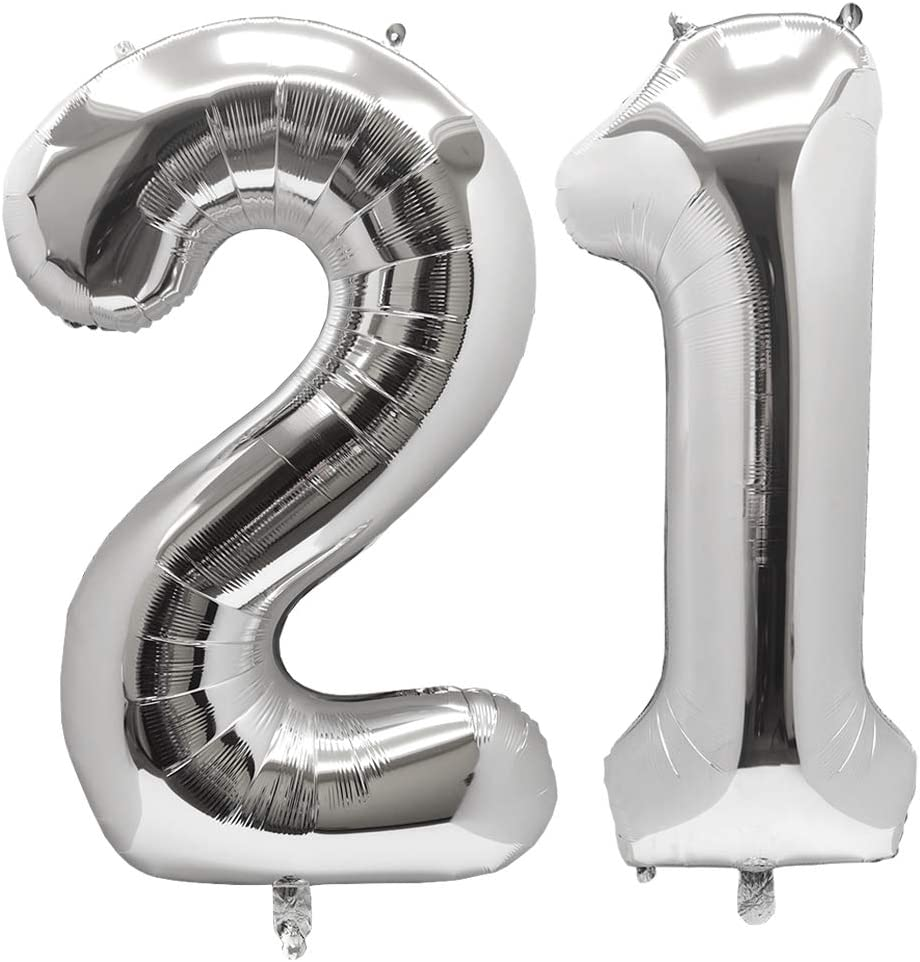 Silver #25 BoomYou Large Foil Mylar Balloons 40 Inch Silver Number 25 Balloons Giant Jumbo Birthday Balloons for Birthday Party Decorations