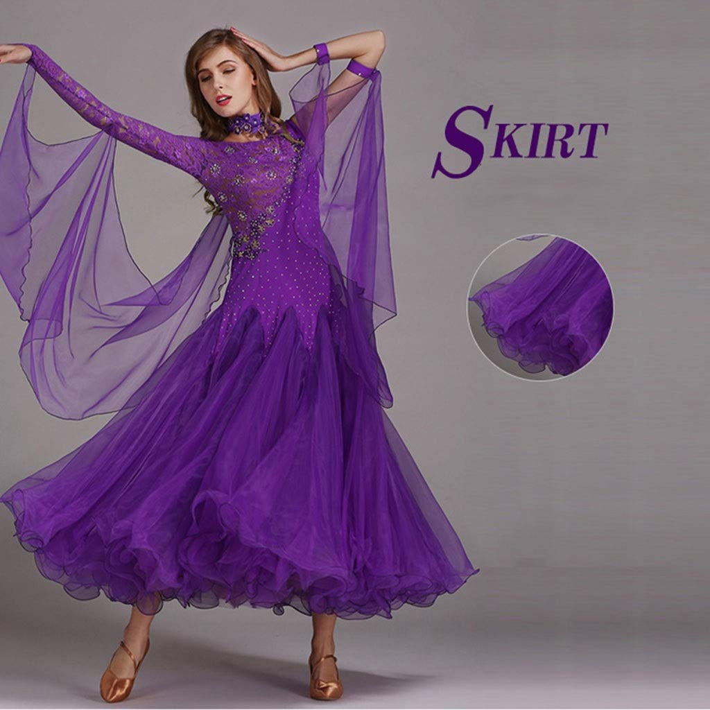 Frauen Ballroom Dance Kleid Mit Langen Ärmeln, Waltz Modern Dance Dance Dance Kostüm Wettbewerb Performance Dance Outfit Lace B07PSHT3N2 Bekleidung Zuverlässige Qualität 60e8a8