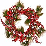 Worth Imports Snowy Berry Pine Cone and Wreath, 22''