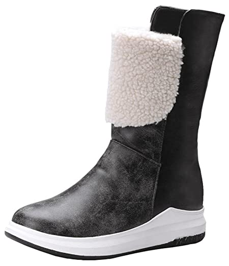 Women's Trendy Folded Top Splicing Round Toe Platform Pull on Mid Calf Sneaker Boots