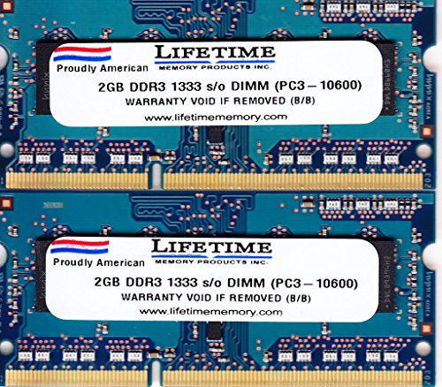 4GB DDR3 1333 (PC3-10600) CL9 SODIMM KIT, TWO 2GB modules by Lifetime Memory Products (4gb Kit Two 2gb Modules)