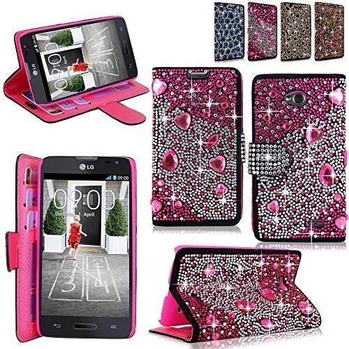 (Cellularvilla Pu Leather Wallet Diamond Design Sparkle Glitter Card Flip Open Pocket Case Cover Pouch For LG Optimus L70 (MetroPCS) MS323 / Exceed II (Verizon) VS450 / Dual D325 (Pink Silver))