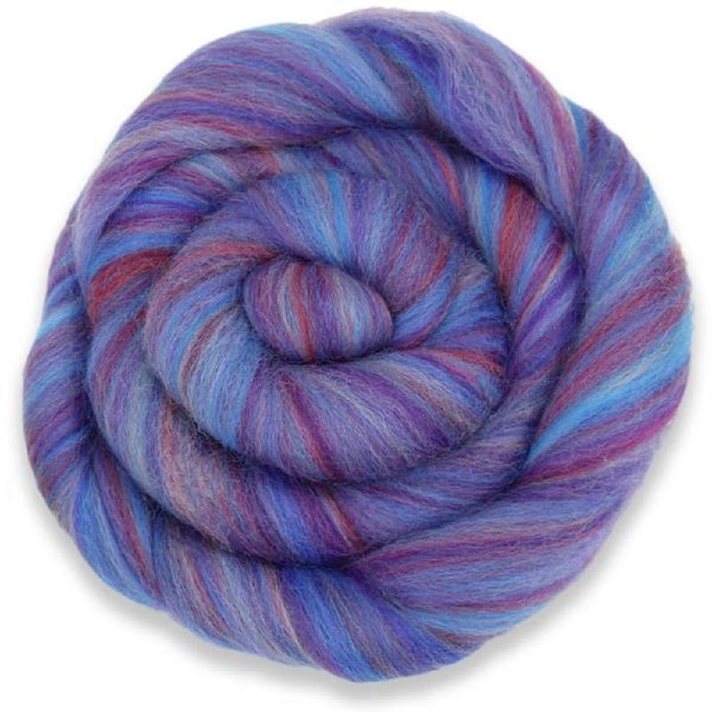 4 oz Paradise Fibers Multi-Colored Merino Wool Roving Amethyst