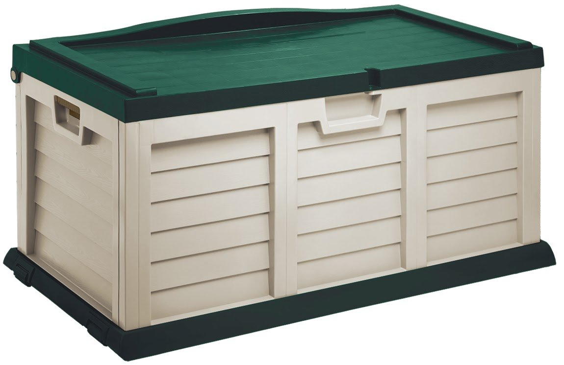 Starplast Deck Box with Sit-On Cover, 71 Gallon, Beige/Green 15811