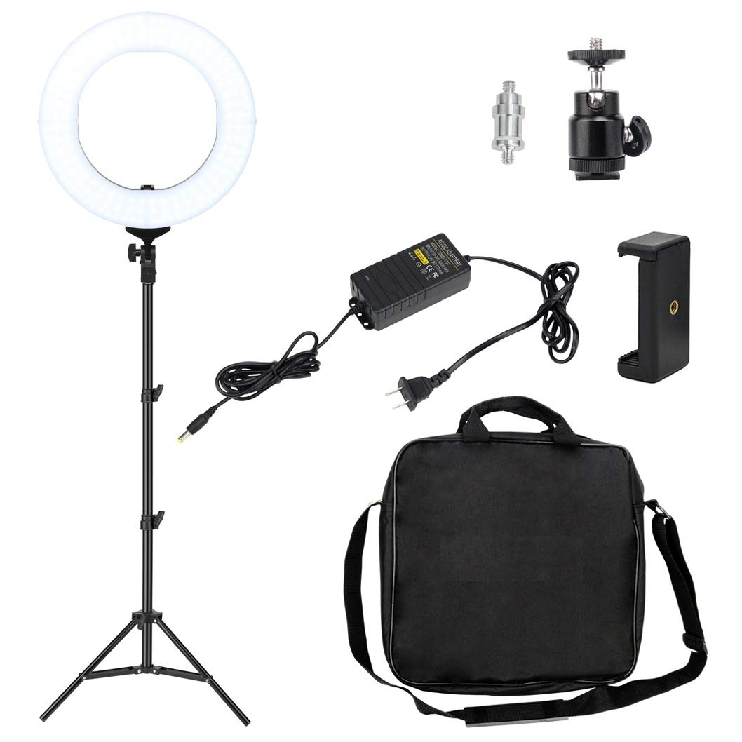 14 Inch Dimmable LED Ring Light, Nydotd Camera Video Lighting Kit with Stand 41W 2700-5500K Adjustable Color Photography YouTube Live with Phone Clamp Ball Head for Makeup Portrait Shooting