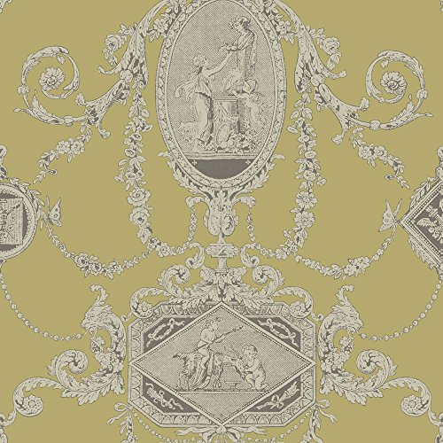PV00202 - Regency Wall Plaques Cherubs Mustard Chartreuse Blendworth Wallpaper (Wallpaper Cherub)