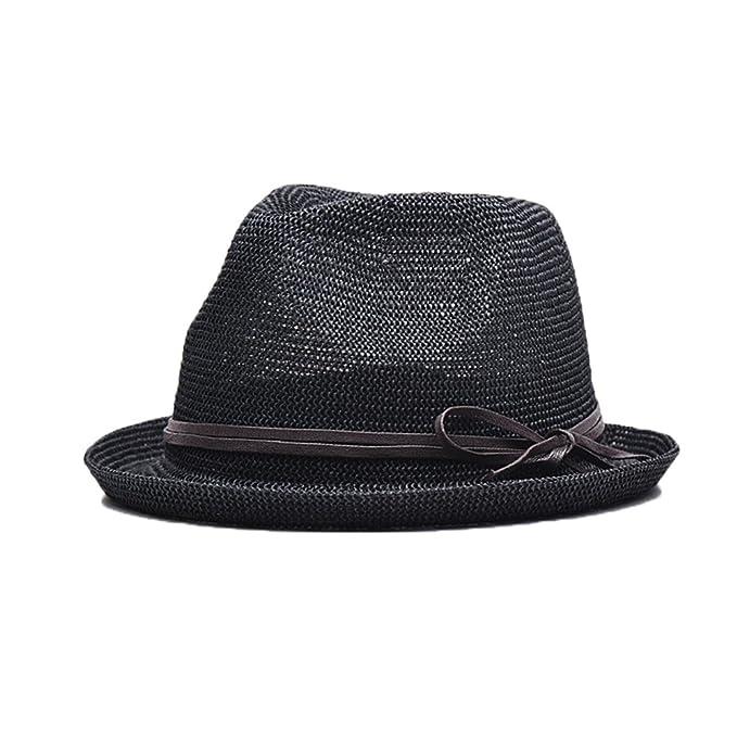 Cappello Borsalino per la Primavera Estate Uomo Ragazzi Fedora Tinta Unita  Ultra Traspirante Cappelli Solare-Nero  Amazon.it  Abbigliamento 15aee34de137