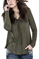 Miss Me MDT1468L Olive Green Lace Up Suede Top