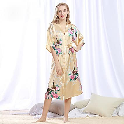Pijamas De Las Mujeres Peacock Robe Albornoz Sexy Cardigan Simulación Seda Pijamas Señoras De Verano De