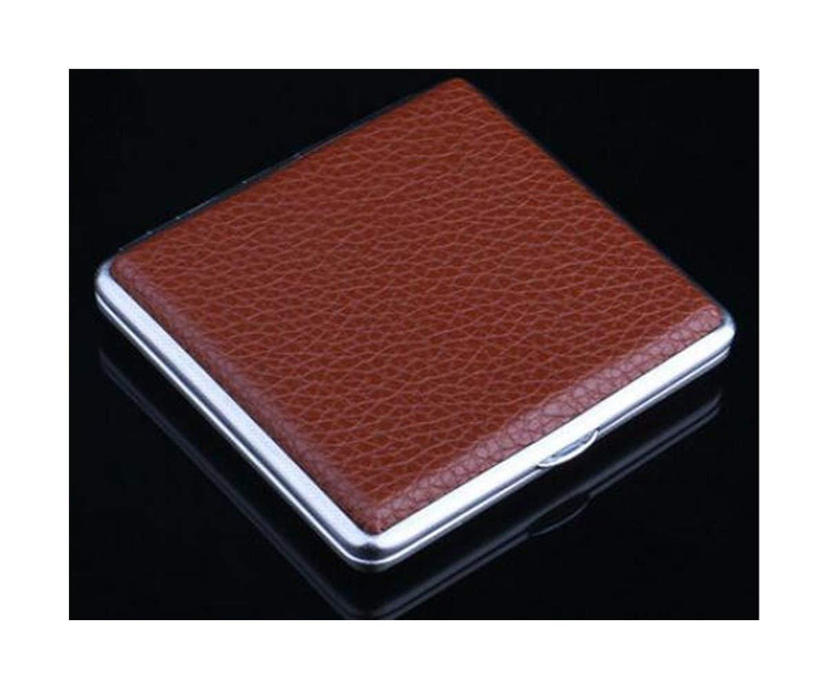 Jinfengtongxun Cigarette Box, Ultra-Thin Creative Simple Men's Cigarette Case 20 Sticks Portable Leather Cigarette Case Metal Cigarette Holder, Personalized Gift, Black (2 Packs)