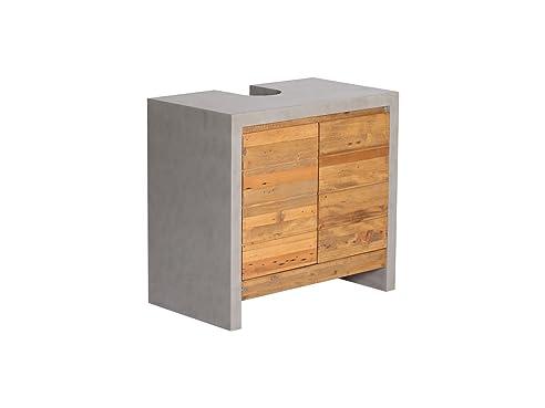 Woodkings® Waschbeckenunterschrank Burnham Echtholz Pinie Natur Rustikal  Und MDF In Beton Optik Grau Waschtischunterschrank Beton
