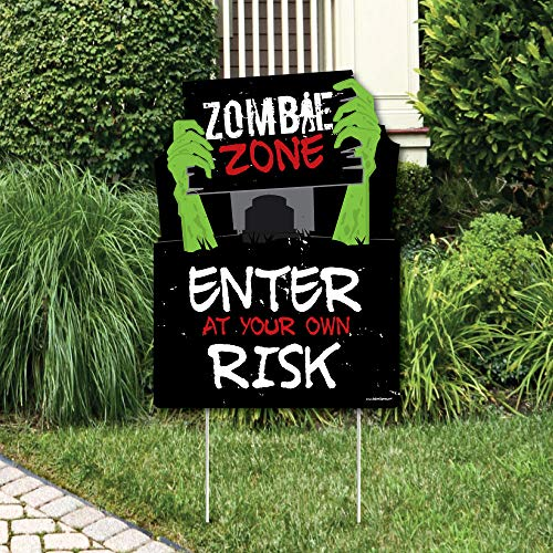 Big Dot of Happiness Zombie Zone - Party Decorations - Halloween or Birthday Zombie Crawl Party Welcome Yard Sign -