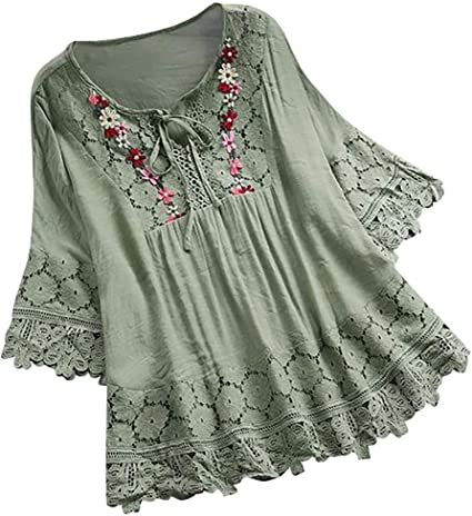 Women/'s Vintage Floral Printed Lace Shirt Long Sleeve Blouses Tunic Tops