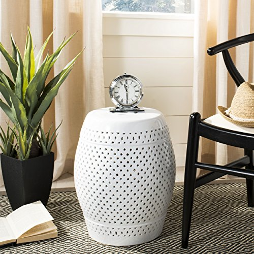 Safavieh Castle Gardens Collection Diamonds White Ceramic Garden Stool (Stool Garden Ceramic White)