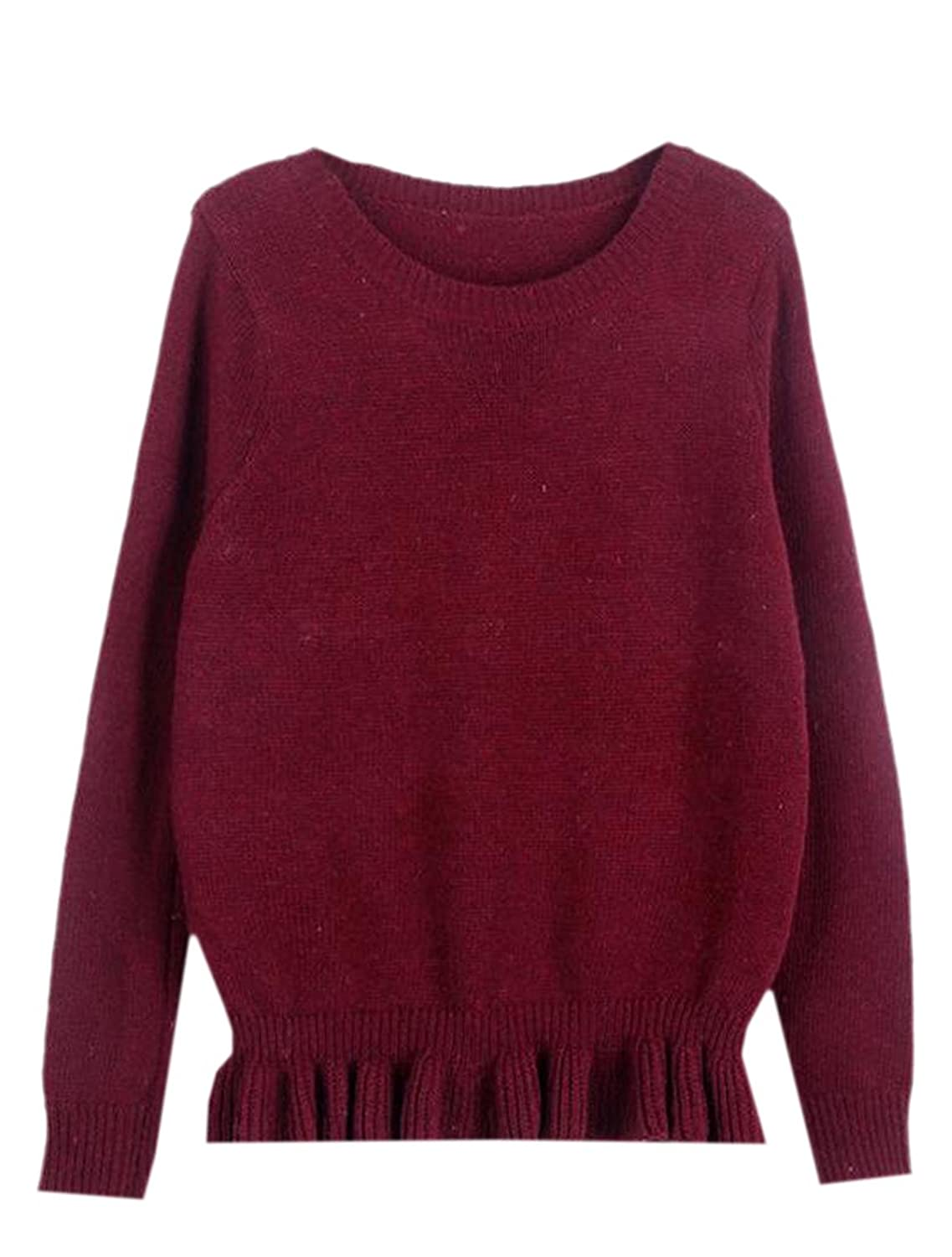 YUNY Women's Knitted Pure Color Cozy Long Sleeve Knitwear