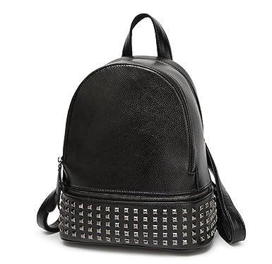 5c8c3d722a9d3 Damen Rucksack PU Leder Rucksack Damen Leder Tasche Backpack Schulrucksack  mit Mode Nieten Design für Mädchen (Schwarz)  Amazon.de  Bekleidung