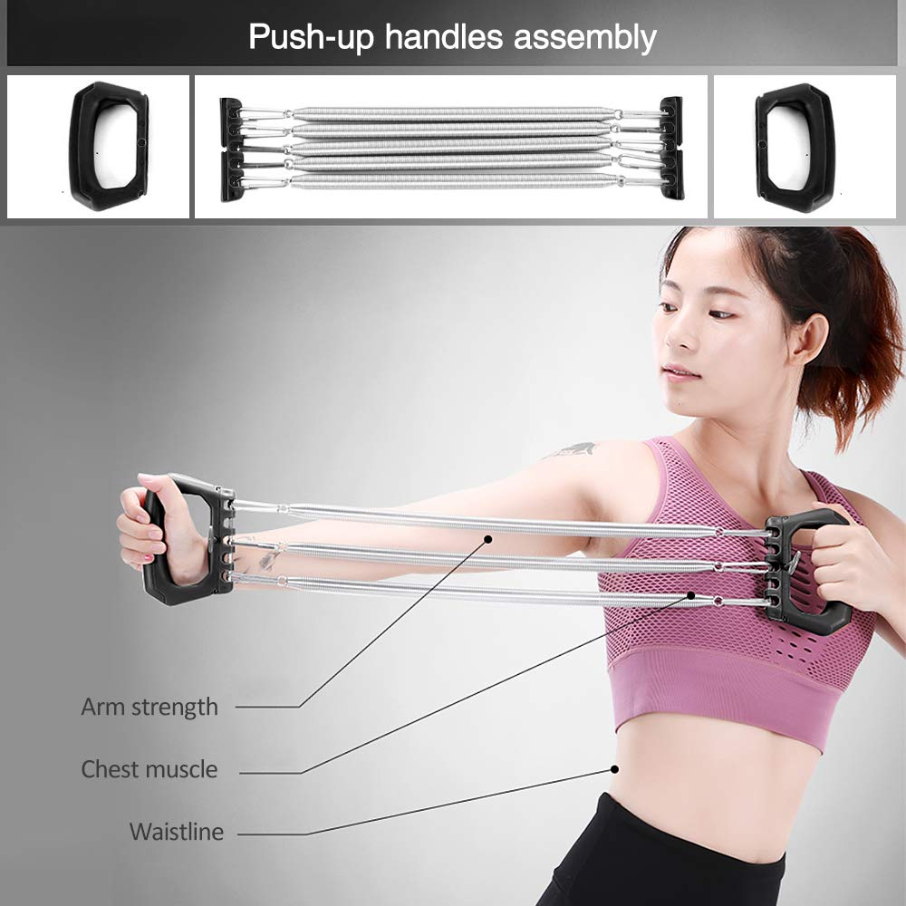 3-in-1 Self-Assembly Chest Pull Exerciser Push-up Handles Belly Roller Wheels Arm Expander Pull Bar Weight Exerciser Equipment Walmeck