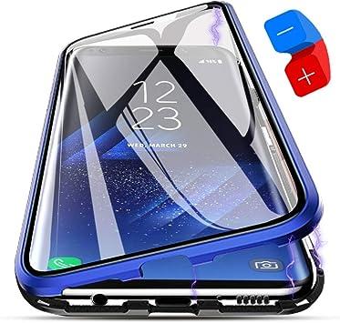 ZHXMALL Funda Samsung Galaxy S9 Plus, [Adsorción Magnética] Marco de Metal Carcasa de Teléfono Parachoque Imanes Incorporados con Cubierta Dura de Trasera de Vidrio Templado Transparente Case Cover: Amazon.es: Electrónica
