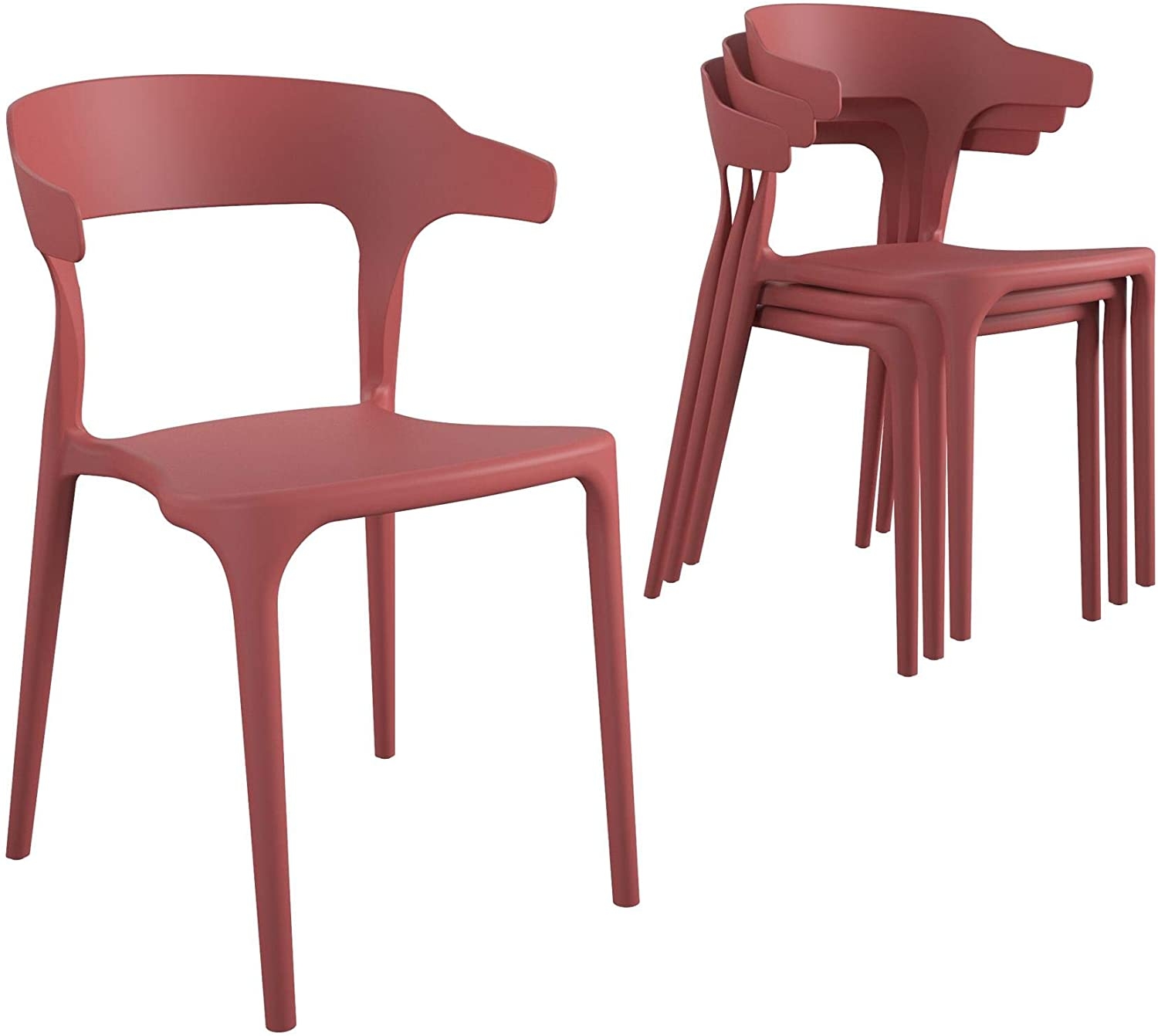 Novogratz Poolside Collection, Felix Stacking, 4-Pack, Persimmon Dining Chairs