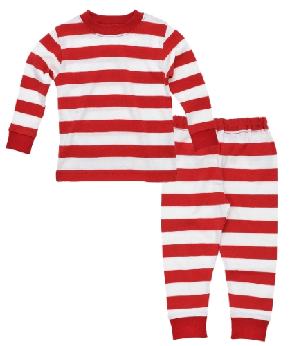 Under The Nile Apparel Unisex Baby Long Johns Rugby Sleepwear, Red, 12 Months