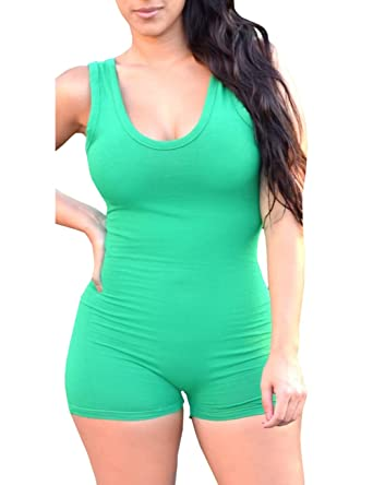 Amazon.com  Ninimour Women Solid Spaghetti Strap Casual Beach Shorts ... 63cff9830