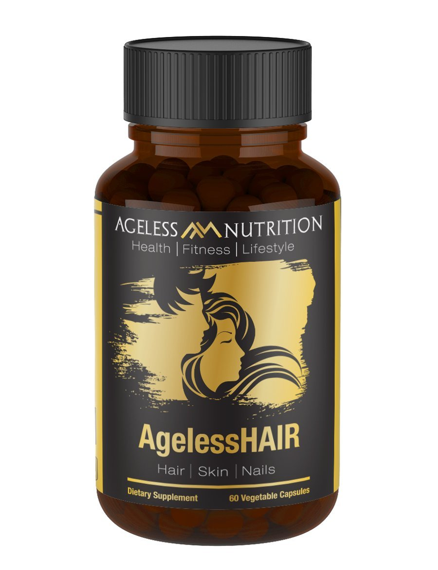 AgelessHAIR - Premium Hair Growth Formula for Healthier, Stronger, Shinier Hair - All Natural Supplements Including Biotin, Collagen, Vitamin A, Horsetail Leaf Extract - 60 Veggie Capsules
