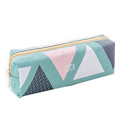 Hunpta - Estuche para lápices, 1 unidad, bolsa de almacenamiento para cosméticos, color verde