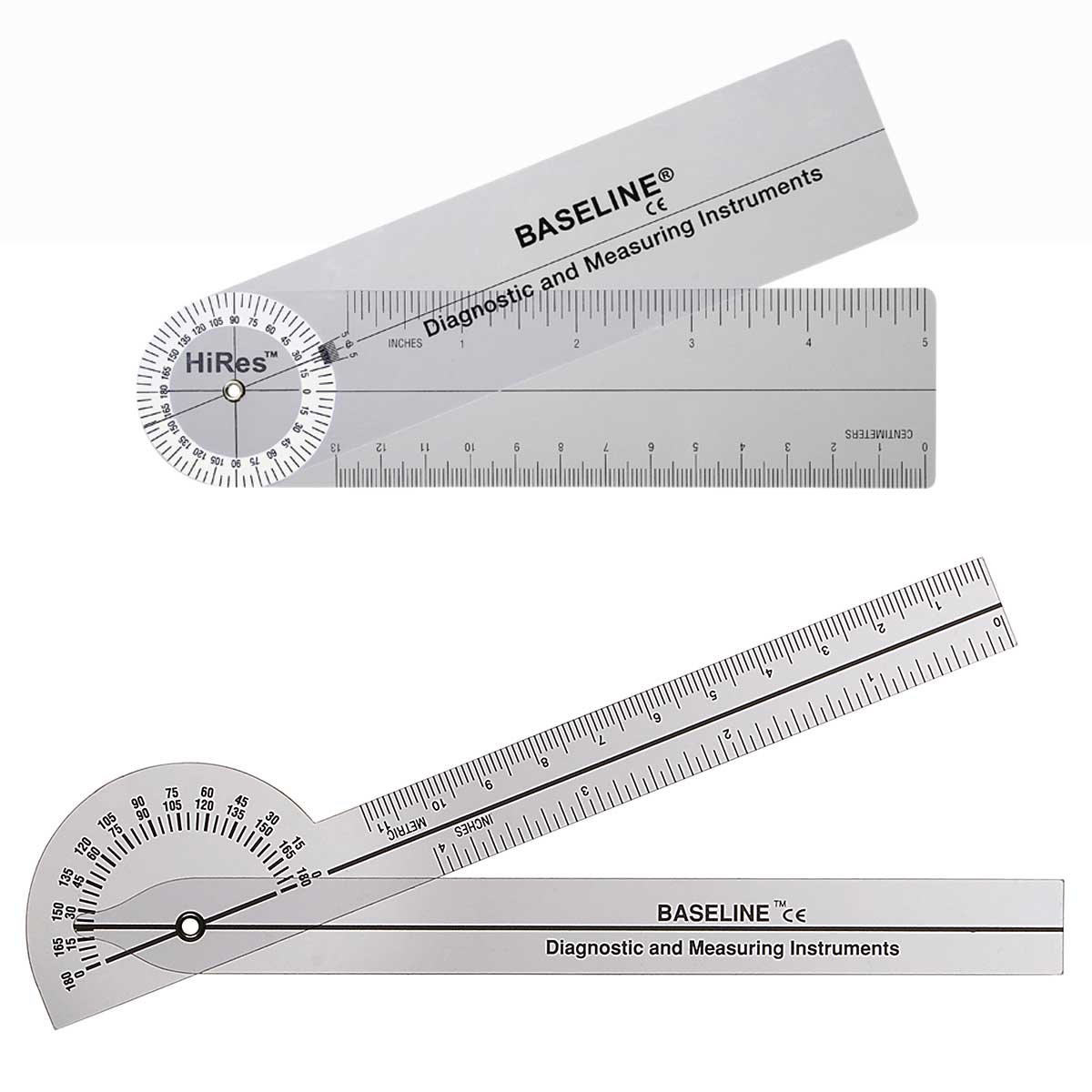 Baseline 12-1005HR-25 Plastic Goniometer Pocket Style Hires 180 Degree Head 6 Inch Arms 25-Pack