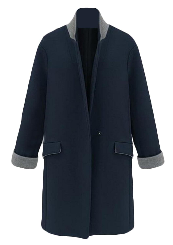 Alion Women's Winter Mid-long Trench Coat Woolen Jacket Overcoat